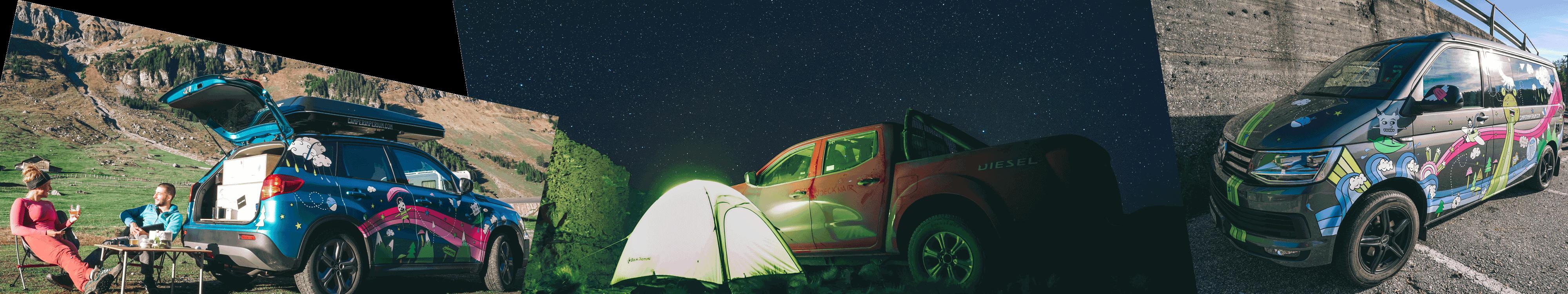 Vero sitzt im Klausental neben unserem Dachzeltcamper. Auf der Laderampe vom Pickup war es in Südamerika nicht so gemütlich wie in unserem Zelt. Kowalski steht mit frischer Folierung auf einem Parkplatz
